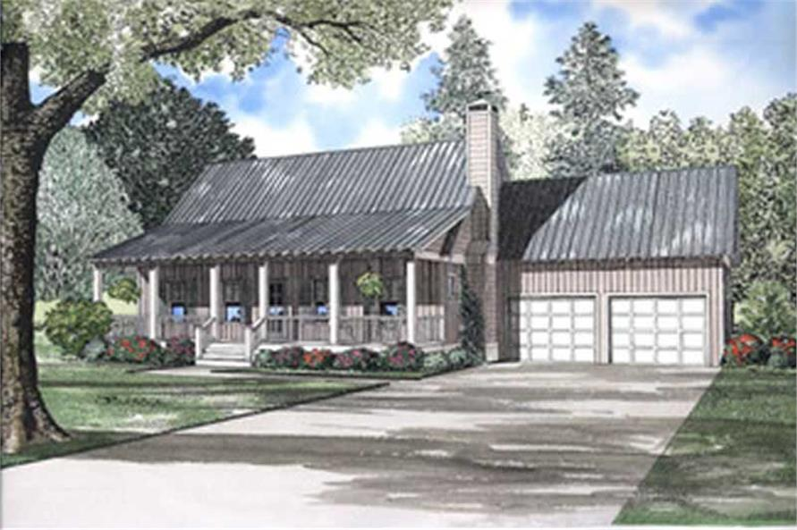 Front elevation of Farmhouse home (ThePlanCollection: House Plan #153-1529)