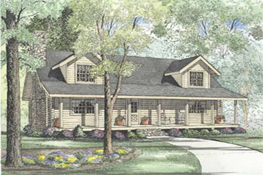 Log Cabin Home Plans Front Elevation.