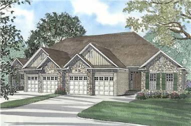 3-Bedroom, 1520 Sq Ft Per Unit Duplex Home Plan - 153-1585 - Main Exterior