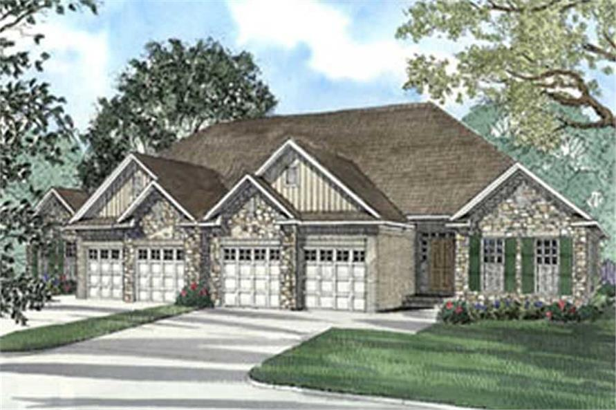 Color rendering of Multi-Unit home plan (ThePlanCollection: House Plan #153-1585)