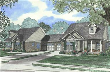 6-Bedroom, 1279 Sq Ft Multi-Unit Home Plan - 153-1594 - Main Exterior