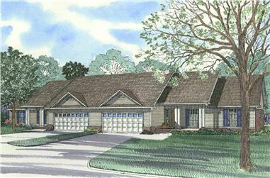 Duplex with 3 Bedrooms, 1525 Sq Ft Per Unit Home Plan - 153-1647 - Main Exterior