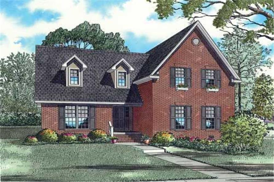 This is an artist's rendering of these Traditional House Plans.