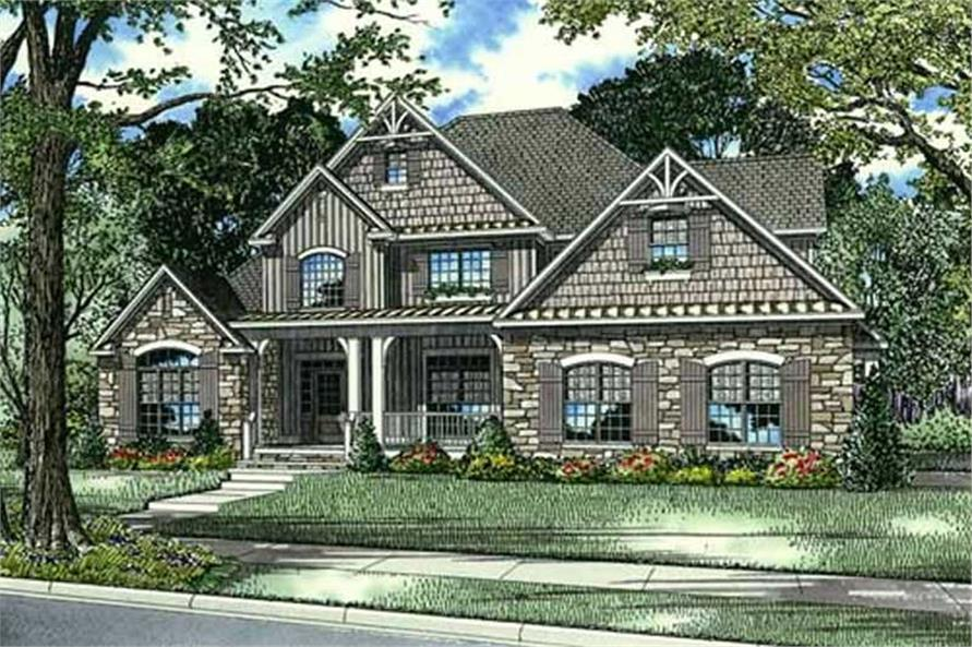 This is an artist's drawing of these craftsman home plans.