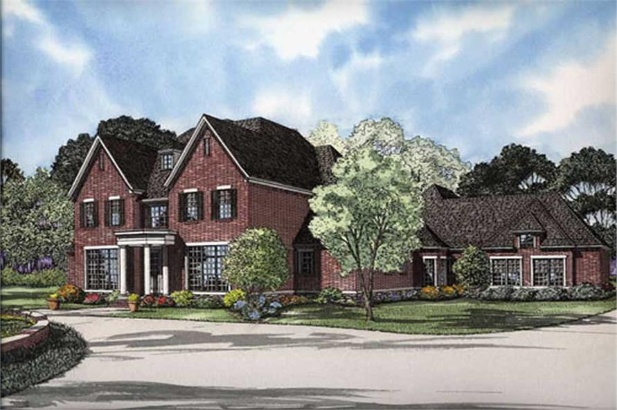 This image shows the front elevation for these house plans.