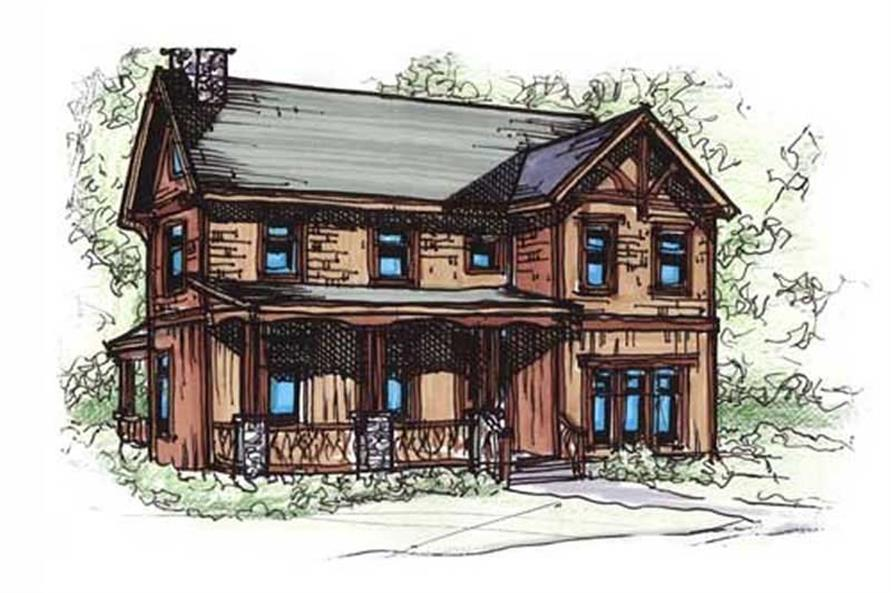 153-1824: Home Plan Rendering-Front Door