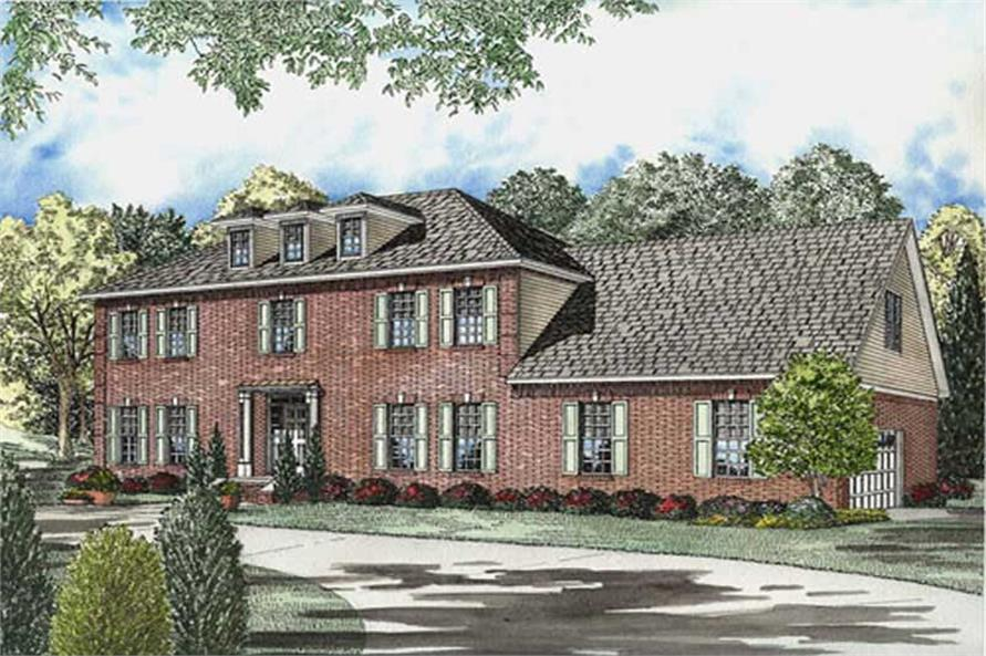 Front elevation of Luxury home (ThePlanCollection: House Plan #153-1841)