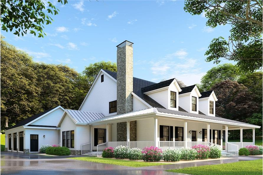 4-Bedroom, 2180 Sq Ft Country Farmhouse Home - Plan #153-1940 - Front Exterior
