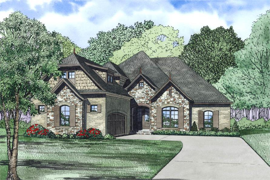 Front Elevation of this Ranch House (#153-1981) at The Plan Collection.