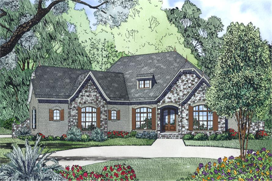 Front Elevation of this French House (#153-1996) at The Plan Collection.