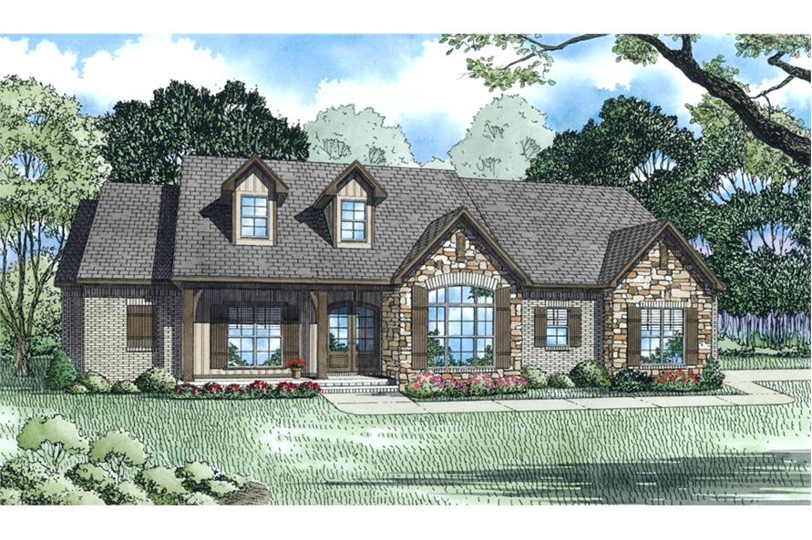 Front Elevation of this Ranch House (#153-2013) at The Plan Collection.