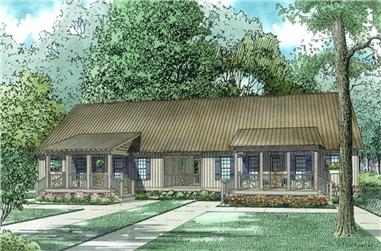 3-Bedroom, 1458 Sq Ft Multi-Unit House Plan - 153-2018 - Front Exterior