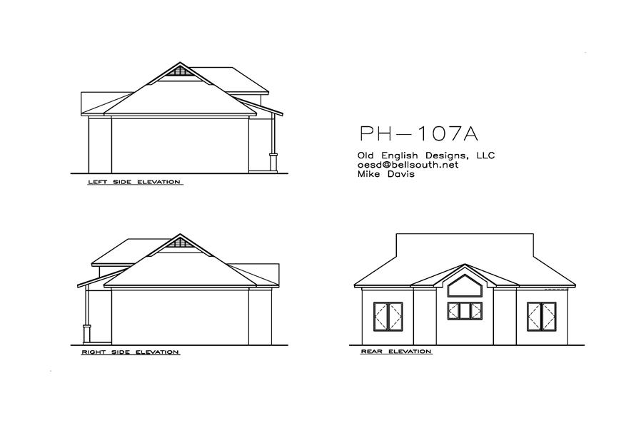 155-1012: Home Plan Rear Elevation