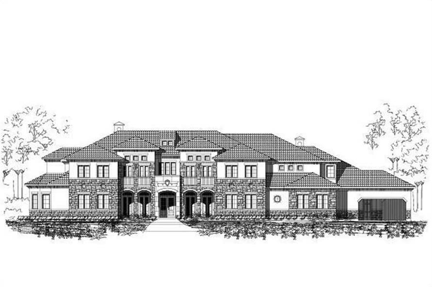 Luxury houseplans OHP-40887 front rendering.
