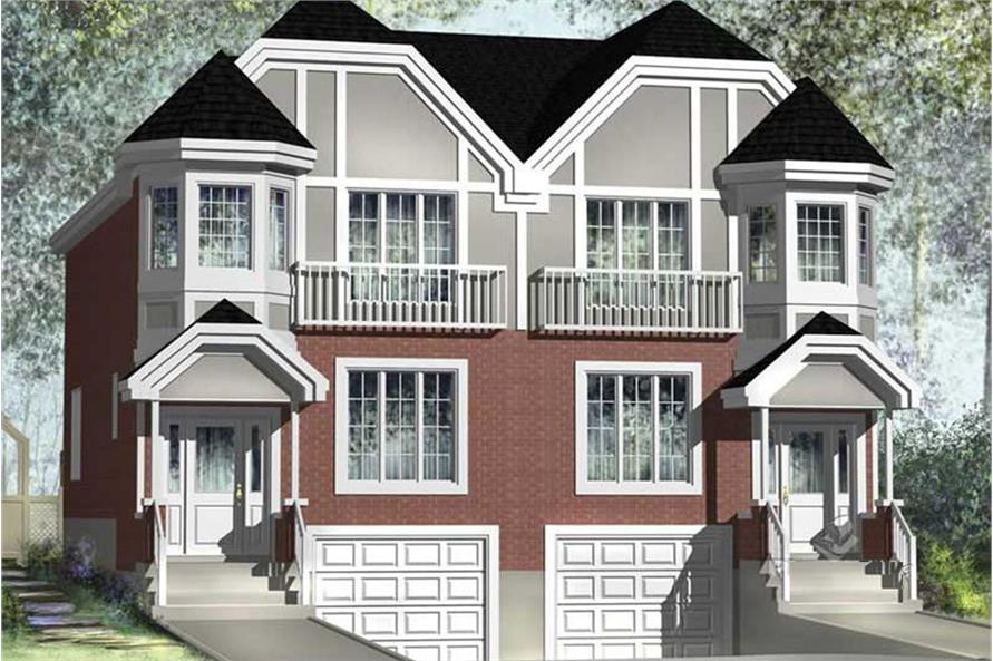 Color rendering of Multi-Unit home plan(ThePlanCollection: House Plan #157-1017)
