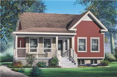 2-Bedroom, 911 Sq Ft Bungalow Home Plan - 157-1356 - Main Exterior
