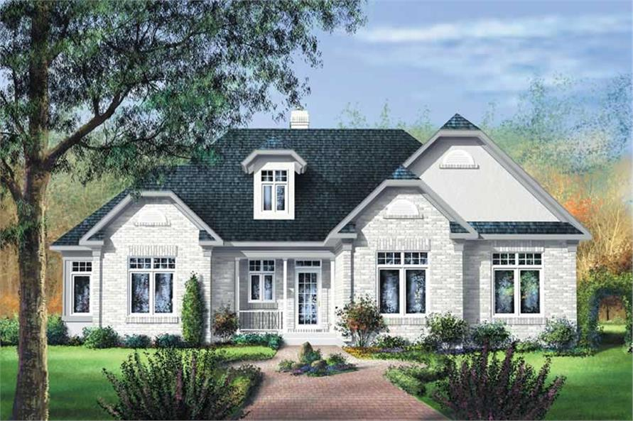 Color rendering of Bungalow home plan (ThePlanCollection: House Plan #157-1663)