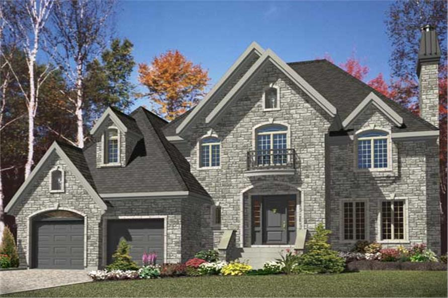 This is the front elevation for these Traditional European Home Plans.