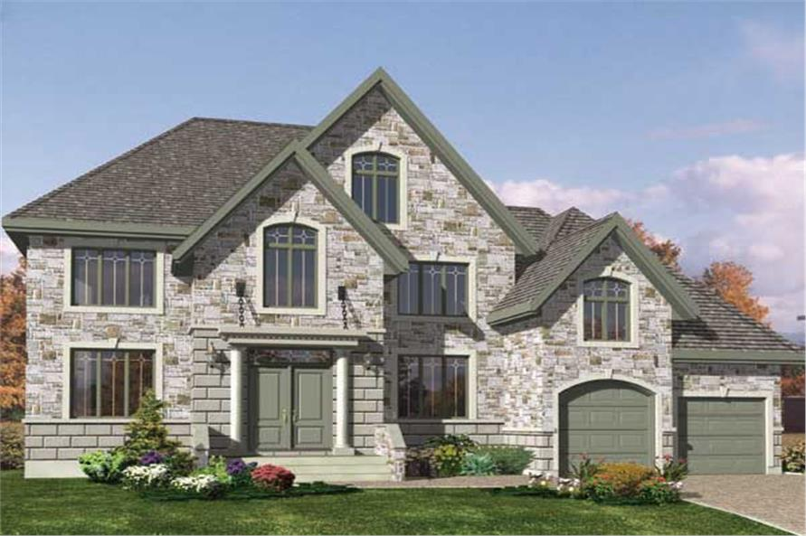 This is the front elevation for these Traditional House Plans