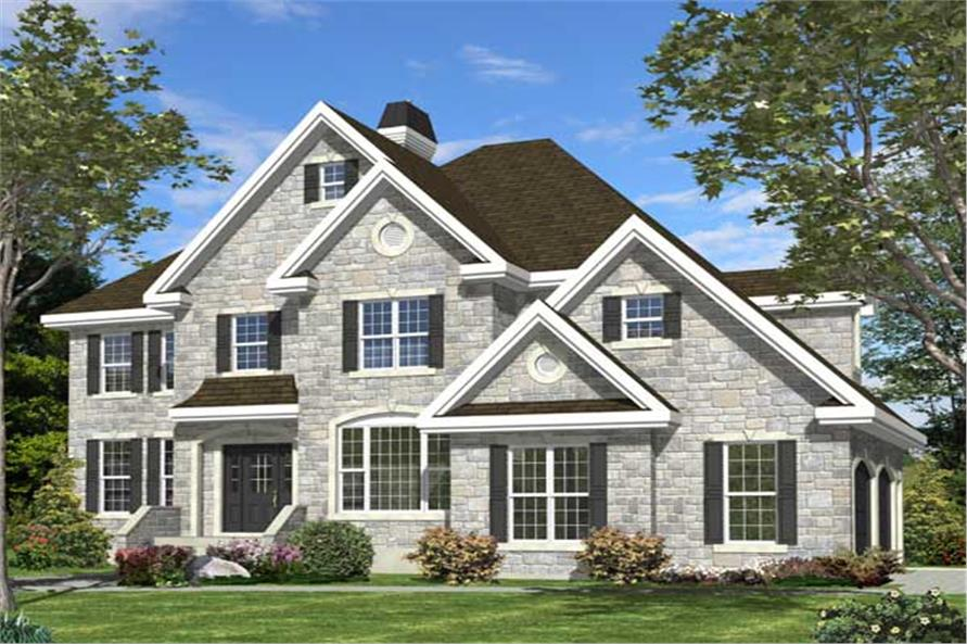 This is a computer rendering for these Traditional Home Plans.
