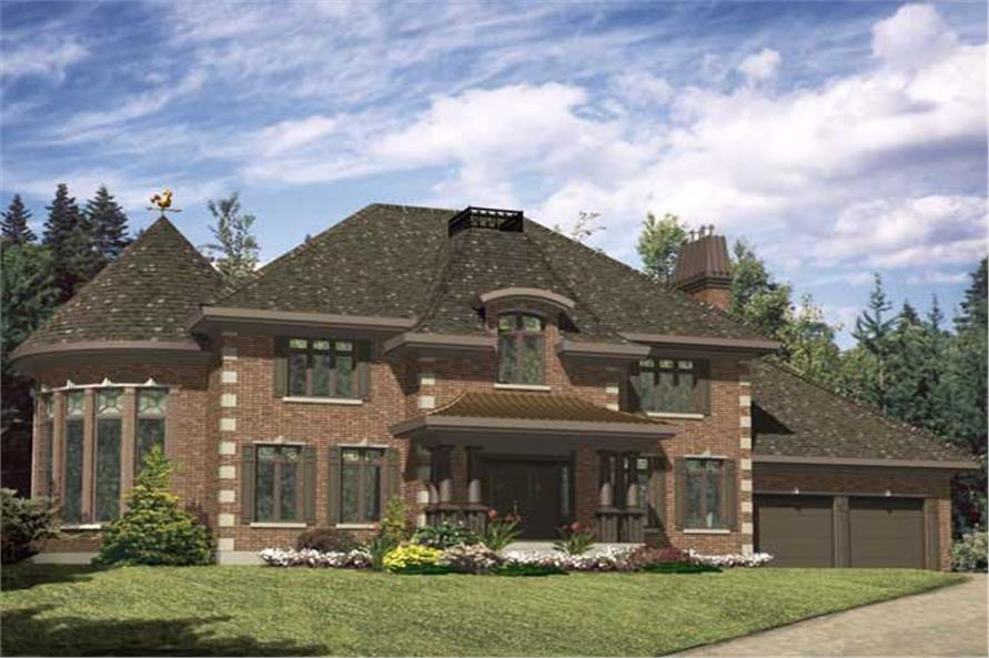This is the front elevation for these Luxury European Home Plans.