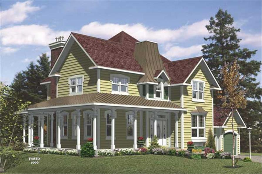 This is the front elevation for these Country House Plans