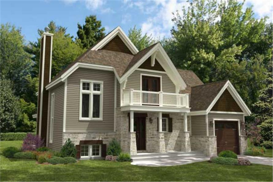 This is the front elevation for these Contemporary House Plans.