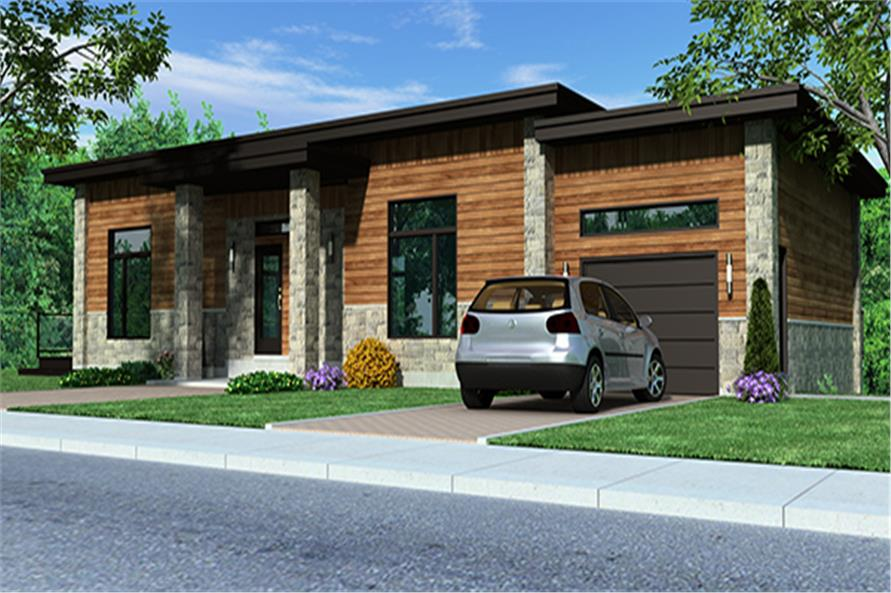 Front elevation of Contemporary home (ThePlanCollection: House Plan #158-1257)