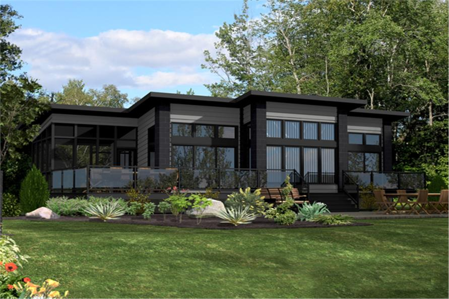 Front elevation of Contemporary home (ThePlanCollection: House Plan #158-1260)