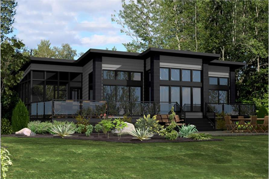 Color rendering of Modern home plan (ThePlanCollection: House Plan #158-1260)