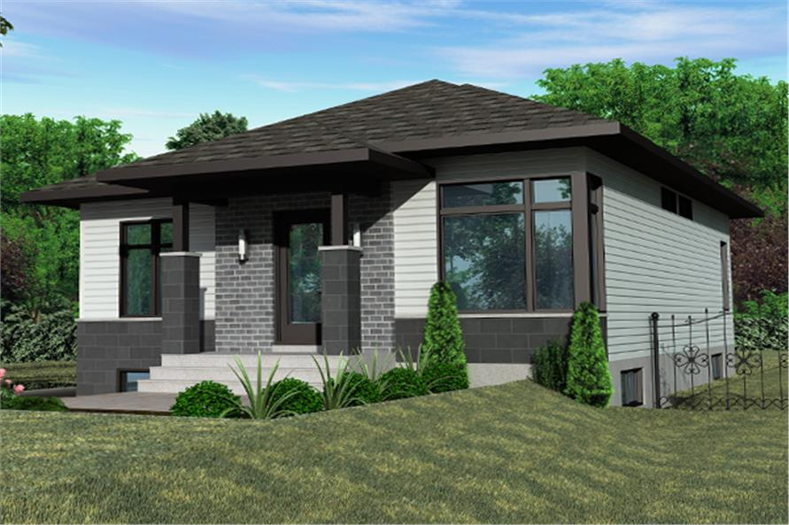 Front elevation of Contemporary home (ThePlanCollection: House Plan #158-1267)