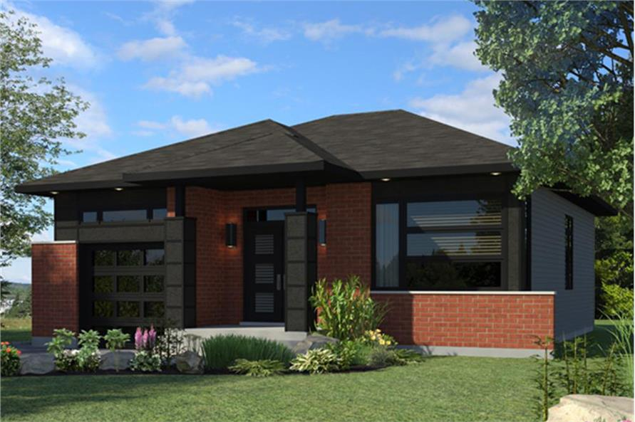 Color rendering of Contemporary home plan (ThePlanCollection: House Plan #158-1269)