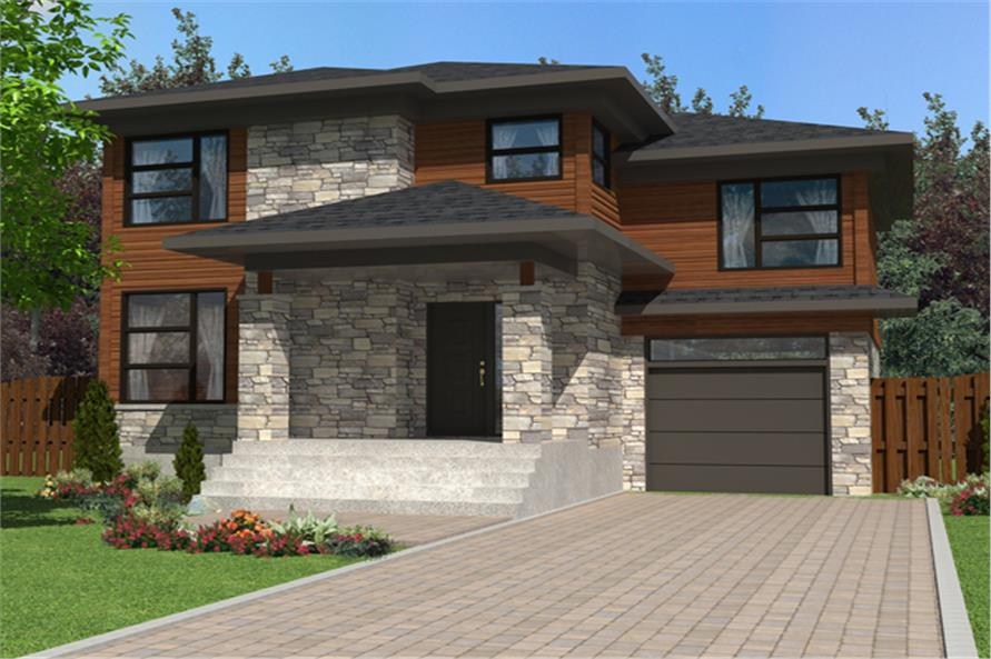 Front elevation of Contemporary home (ThePlanCollection: House Plan #158-1274)