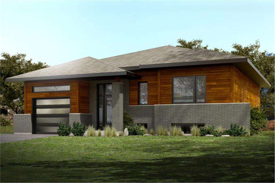 Front elevation of Contemporary home (ThePlanCollection: House Plan #158-1285)