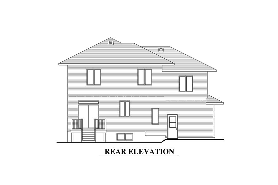 158-1288: Home Plan Rear Elevation