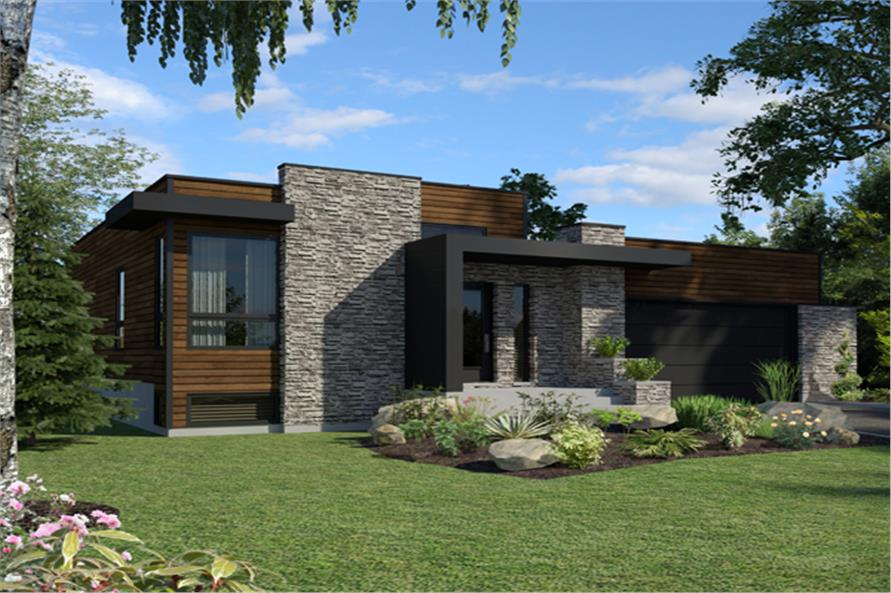 Front elevation of Contemporary home (ThePlanCollection: House Plan #158-1290)