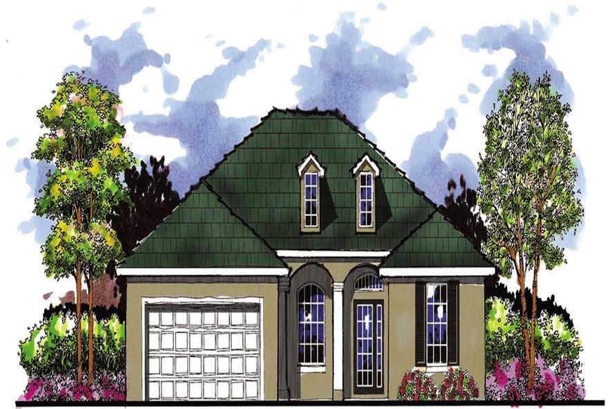 This is the front elevation for these French Country House Plans.