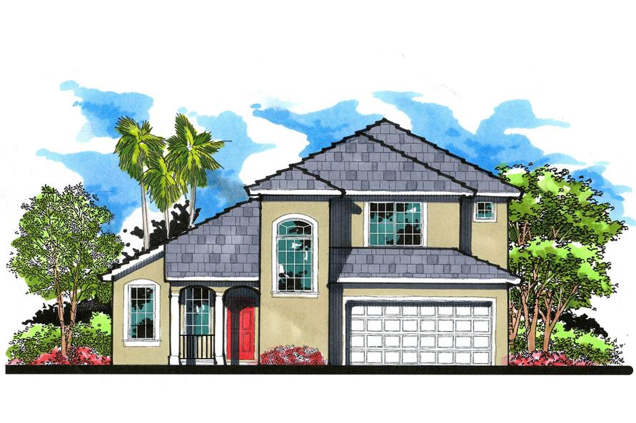 This is the elevation for these Mediterranean Home Plans.