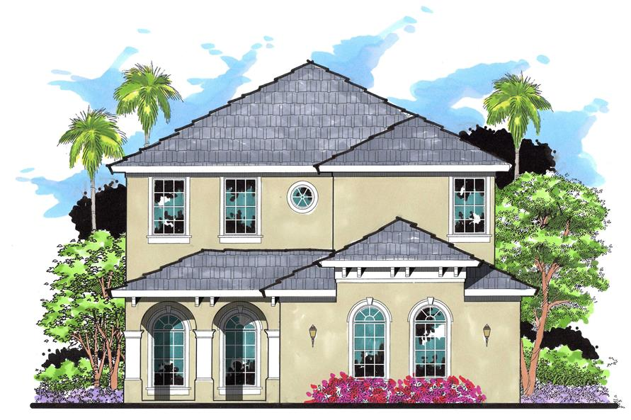 This is the front elevation for these Mediterranean Home Plans.