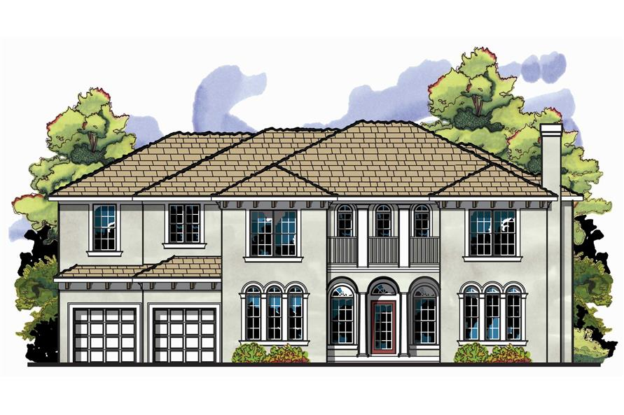 This is the front elevation for these French Home Plans.