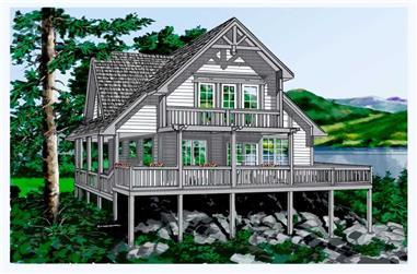 2-Bedroom, 1333 Sq Ft Log Cabin Home Plan - 160-1011 - Main Exterior