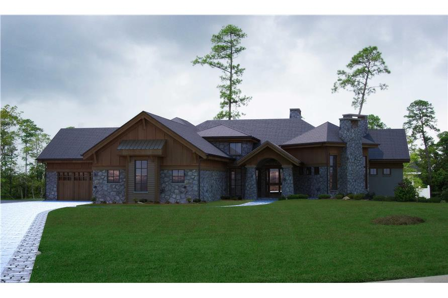This is a computer rendering of the front of these Craftsman Home Plans.