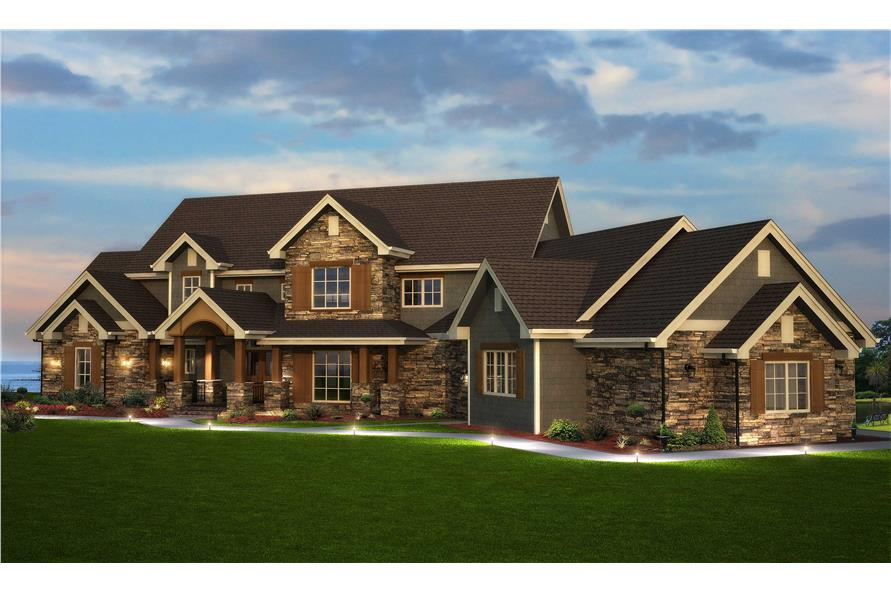 Detailed photo-realistic rendering of six-bedroom, Traditional home plan #161-1003