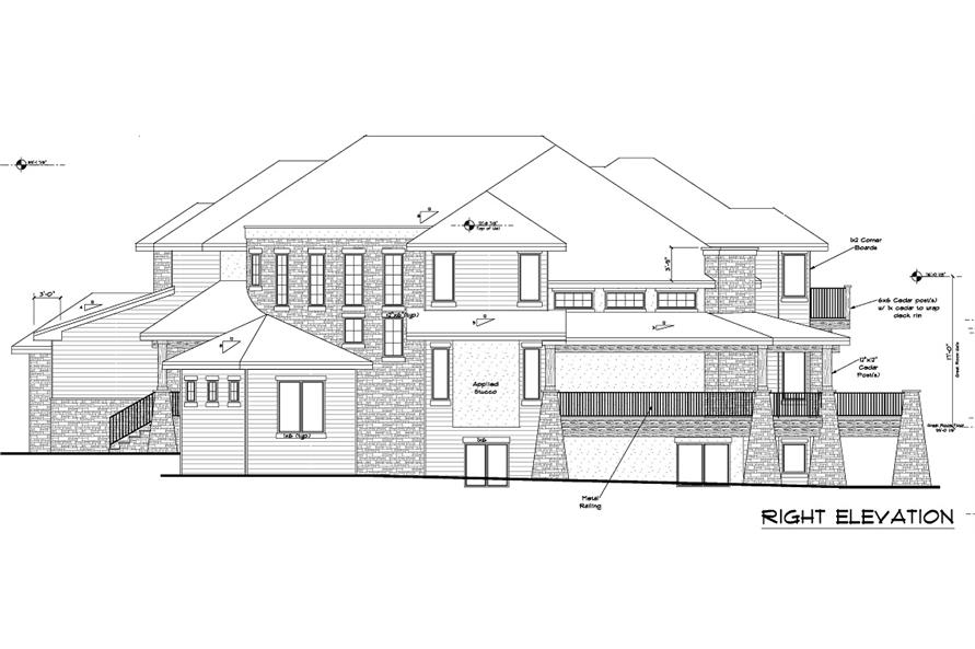 161-1028 house plan right elevation
