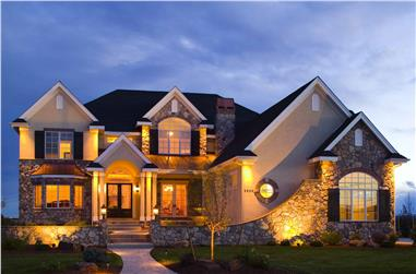 5-Bedroom, 6403 Sq Ft Luxury Country House Plan - 161-1030 - Front Exterior
