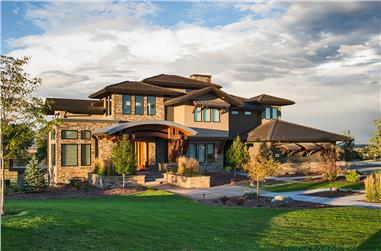 5-Bedroom, 5170 Sq Ft Modern House Plan - 161-1084 - Front Exterior