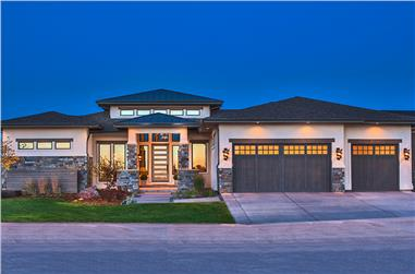 4-Bedroom, 2593 Sq Ft Contemporary House Plan - 161-1085 - Front Exterior