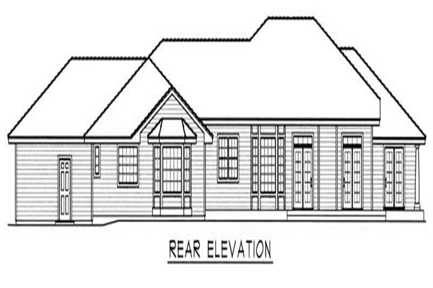 House Plan RDI-3506R1-PB Rear Elevation