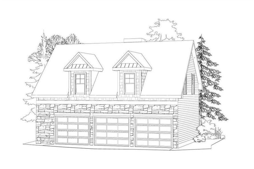 Rendering of Garage w/Apartment plan (ThePlanCollection: House Plan #163-1038)