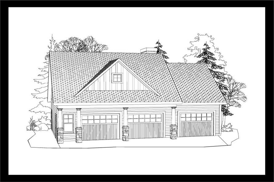 This is a black and white 3D elevation of these Garage Plans.